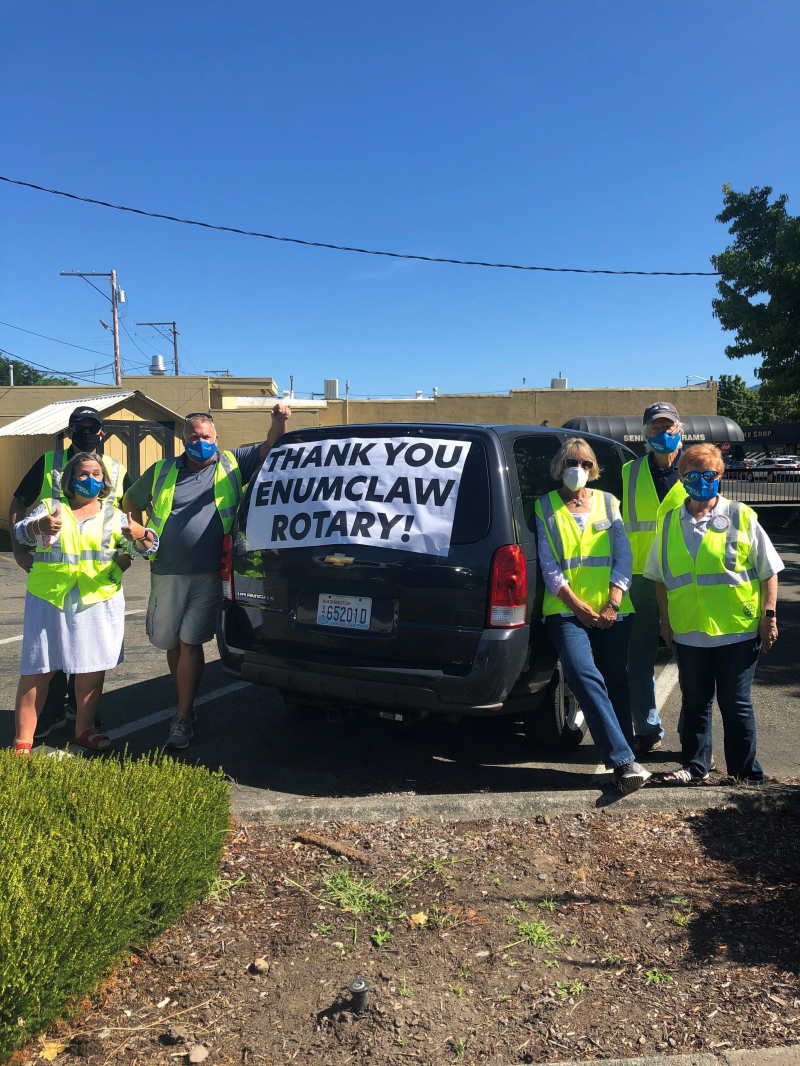 The Enumclaw Senior Center staff had a special thank you to the many Rotarians who showed up to served during this event.